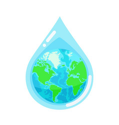 water droplet with earth globe inside vector image