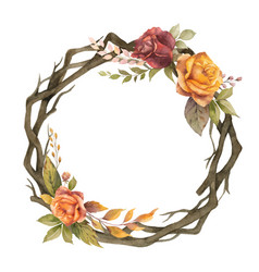 Watercolor autumn wreath with rose and dry vector