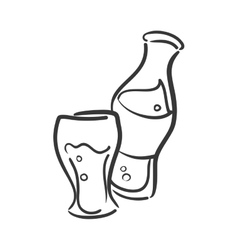 Bottle and glass icon soda and drink design vector