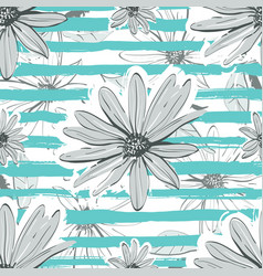 flower pattern seamless turquoise striped vector image vector image