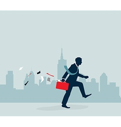 Businessman walking with city background vector image