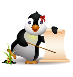 cute penguin with blank sign vector image vector image