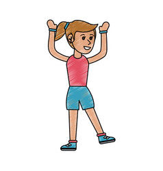 girl doing workout fitness vector image