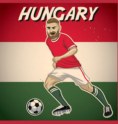 hungary soccer player with flag background vector image vector image