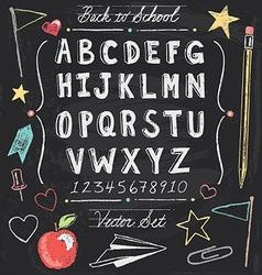 Vintage back to school chalkboard hand drawn set vector