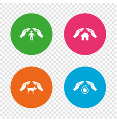 hands insurance icons human life-assurance sign vector image