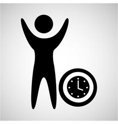 happy man with clock timw icon vector image