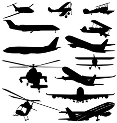 PLANES AND HELICOPTERS vector image vector image