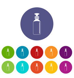 Closed vial icons set flat vector