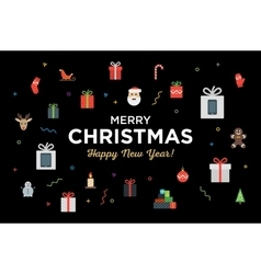 Greeting Christmas and Happy New Year with bunch vector image vector image