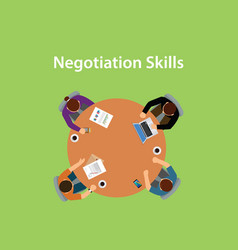 negotiation skills with four people vector image
