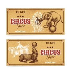 Vintage circus show ticket set Hand drawn sketch vector image vector image