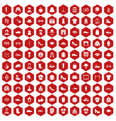 100 fashion icons hexagon red vector image