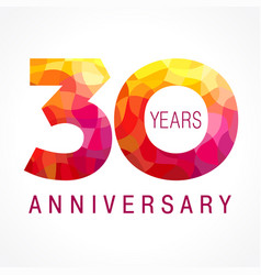 30 anniversary red logo vector