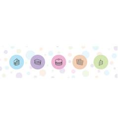 5 biscuit icons vector