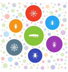 7 bug icons vector image
