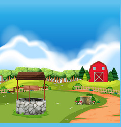 A rural farm land vector