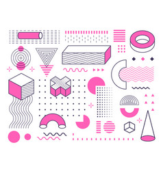 abstract geometric shapes and forms set with color vector image
