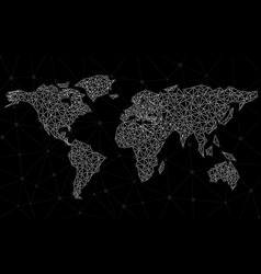 abstract polygonal world map with dots and lines vector image