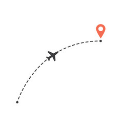 aircraft flight a curved path to location mark vector image