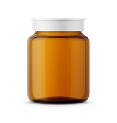 Amber glass medicine bottle template vector