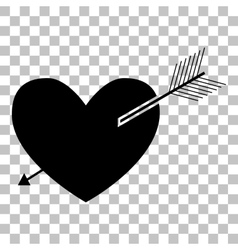 Arrow heart sign Flat style black icon on vector