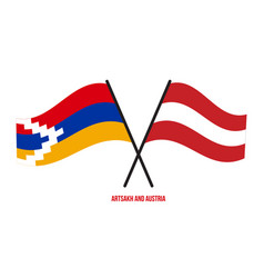 Artsakh and austria flags crossed and waving flat vector