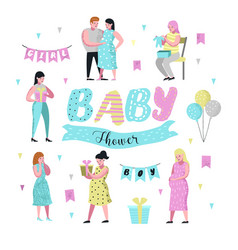 baby shower pregnant mother flat characters vector image