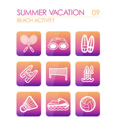 Beach activity icon set summer vacation vector