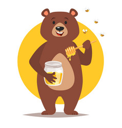 Bear character eating honey vector