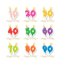 Birthday anniversary set candles colorful numbers vector
