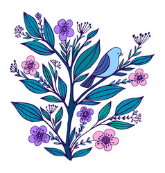 blue bird sits on a flowering branch with flowered vector image