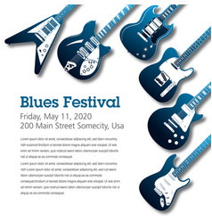 Blues themed music poster background template vector