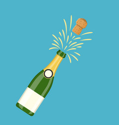 Bottle of champagne explosion vector