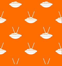 bowl of rice with chopsticks pattern seamless vector image