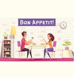 breakfast cartoon background vector image