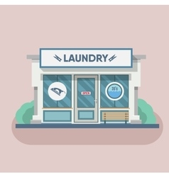 Building laundry flat design Washing mashine vector