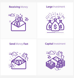 business and finance receiving money icon large vector image