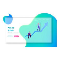 business goal achievement website landing page vector image