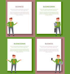 businessman and business set of bright posters vector image