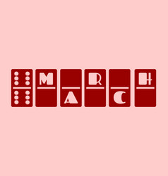 calendar date - march 12 domino bones style vector image