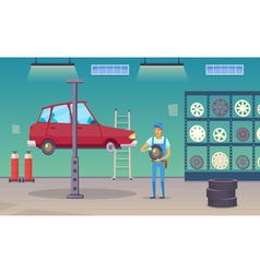 Car Service Garage Cartoon Composition Poster vector image