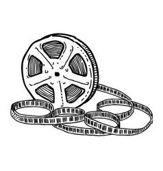 Cartoon image of film reel vector