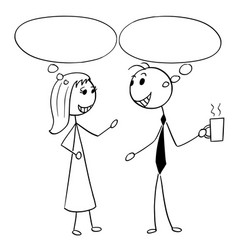 cartoon of man and woman business people talking vector image