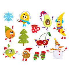 Cartoon winter fruit characters symbols set vector