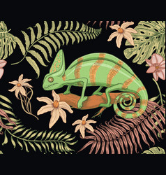 Chameleon lizard tropical flowers seamless vector