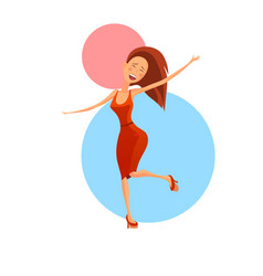 cheerful dancing woman vector image