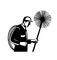 Chimney sweeper holding a sweep or broom and rope vector