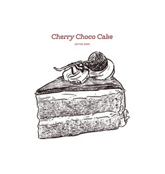 chocolate cherry cake hand draw sketch vector image