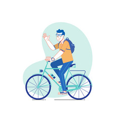 City style man riding on a bicycle line vector